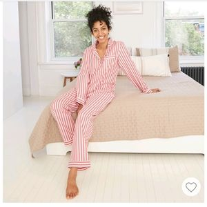 Long sleeve button down striped pajama shirt